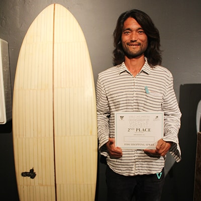 George Kodama won 2nd prise Up-cycle contest by VISSLA Octover 2015.